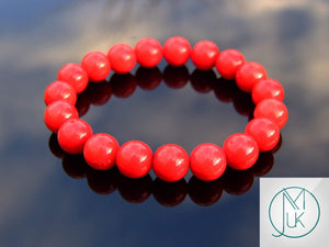 Red Coral Rose Gold Micro Pave Dyed Natural Gemstone Bracelet 6-9/'/' Elasticated