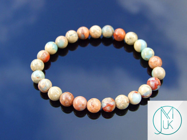 Aqua Terra Jasper Natural Gemstone Bracelet 6-9'' Elasticated-Gemstone Bracelets-Michael's UK Jewellery