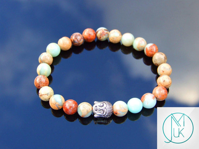 Buddha Aqua Terra Jasper Natural Gemstone Bracelet 6-9'' Elasticated-Gemstone Bracelets-Michael's UK Jewellery