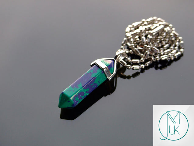 Chrysocolla Dyed Natural Crystal Point Pendant Gemstone Necklace-Gemstone Necklaces-Michael's UK Jewellery