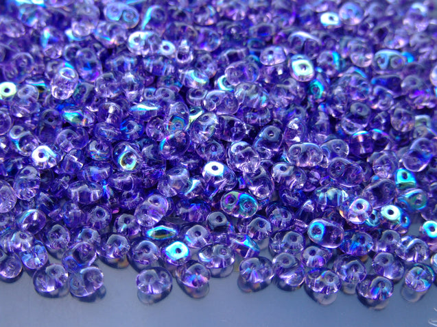 100g SuperDuo Beads Transparent Tanzanite AB WHOLESALE-Matubo Glass Beads-Michael's UK Jewellery