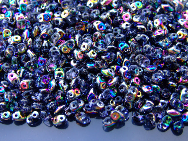 100g SuperDuo Beads Transparent Tanzanite Vitrail WHOLESALE-Matubo Glass Beads-Michael's UK Jewellery