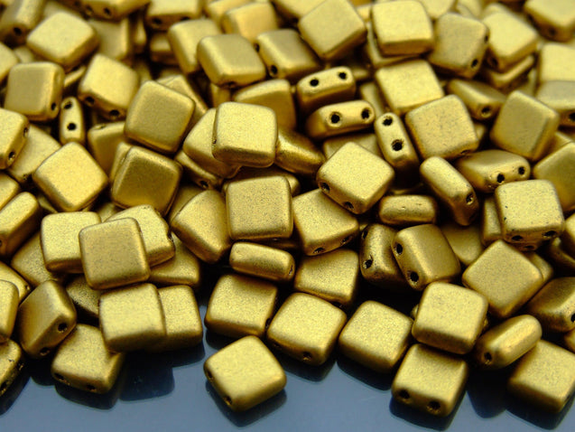 25pcs CzechMates Tile Beads Matte Metallic Aztec Gold-Czechmates Glass Beads-Michael's UK Jewellery