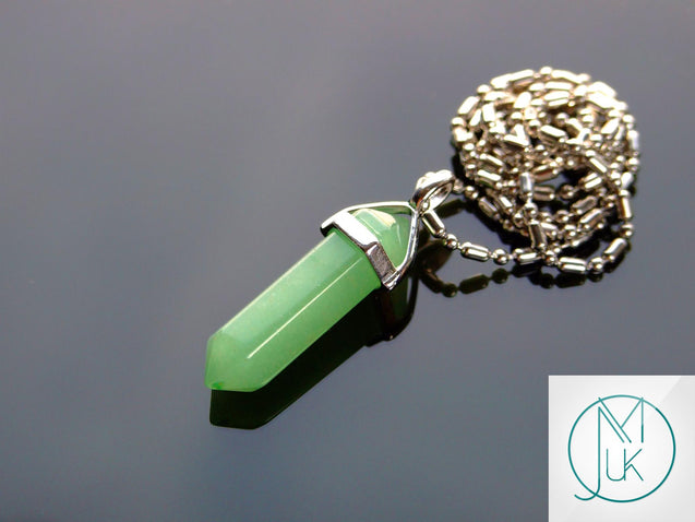 Green Aventurine Natural Crystal Point Pendant Gemstone Necklace-Gemstone Necklaces-Michael's UK Jewellery