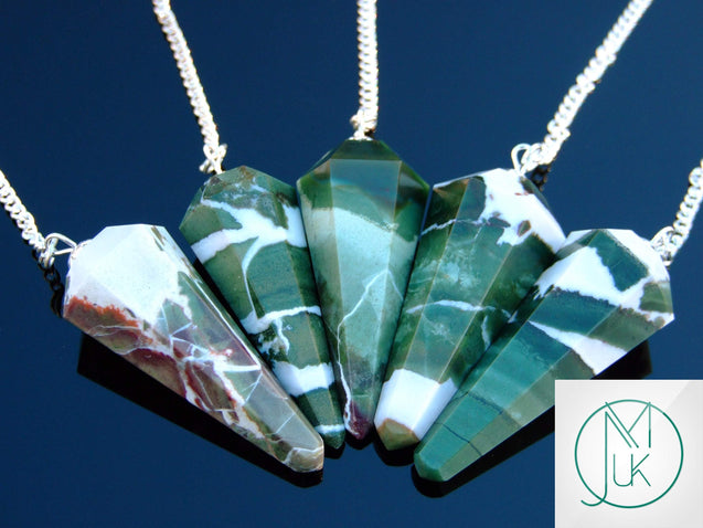 Green Zebra Agate Natural Gemstone Point Pendulum-Pendulum-Michael's UK Jewellery