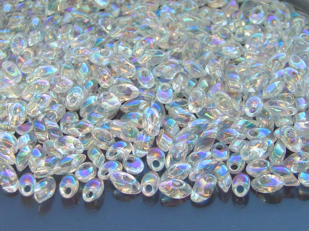 10g Miyuki Long Magatama 4x7mm Beads Crystal AB-Glass Beads-Michael's UK Jewellery