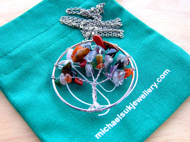 Handmade Mix Tree of Life Natural Gemstone Pendant Necklace 50cm-Pendant Necklace-Michael's UK Jewellery