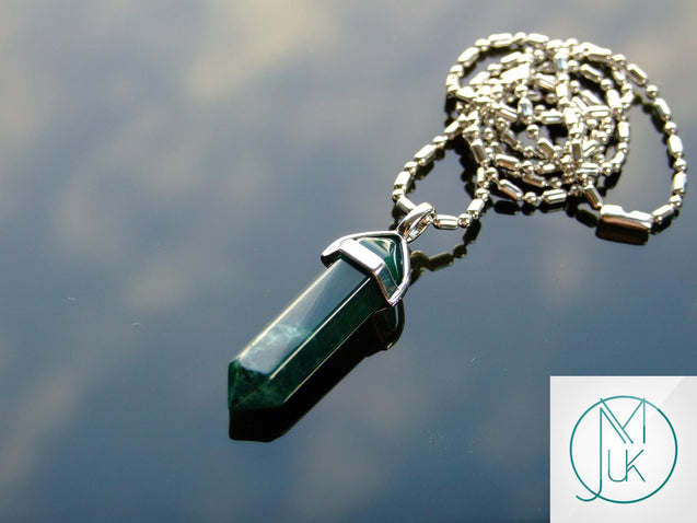 Moss Agate Natural Crystal Point Pendant Gemstone Necklace-Gemstone Necklaces-Michael's UK Jewellery