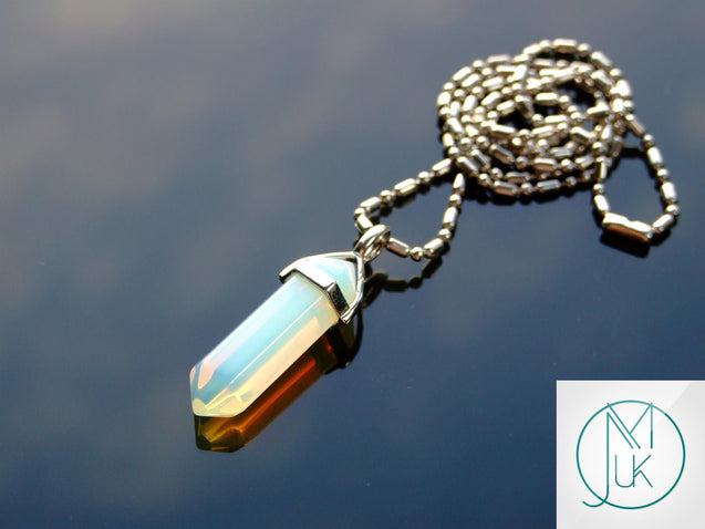 Opalite Manmade Crystal Point Pendant Gemstone Necklace-Gemstone Necklaces-Michael's UK Jewellery