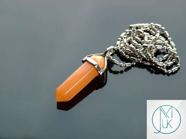 Red Aventurine Natural Crystal Point Pendant Gemstone Necklace-Gemstone Necklaces-Michael's UK Jewellery
