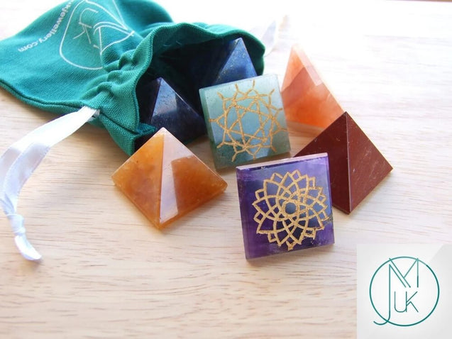 Energy Charged 7 Chakra Pyramids Natural Set with Pouch-Gemstone Chakra Set-Michael's UK Jewellery