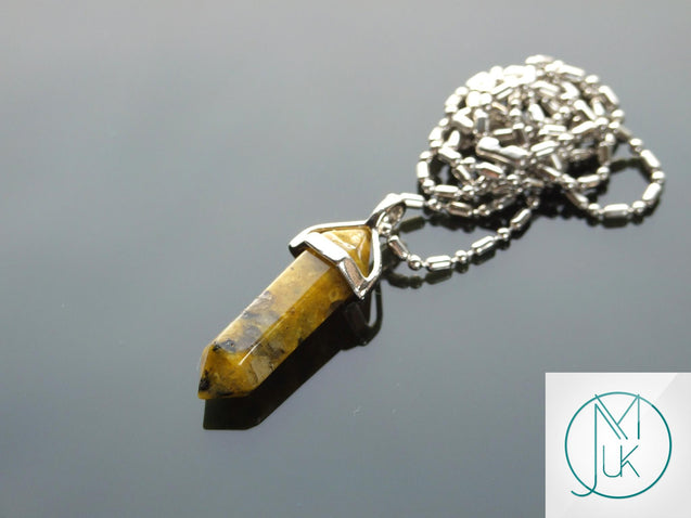 Yellow Turquoise Natural Crystal Point Pendant Gemstone Necklace-Gemstone Necklaces-Michael's UK Jewellery