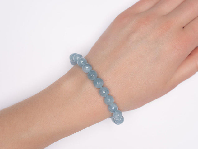 Aquamarine Natural Gemstone Bracelet 6-9'' Elasticated-Gemstone Bracelets-Michael's UK Jewellery