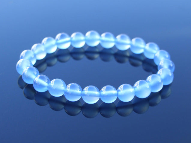 Blue Agate Dyed Natural Gemstone Bracelet 6-9'' Elasticated-Gemstone Bracelets-Michael's UK Jewellery