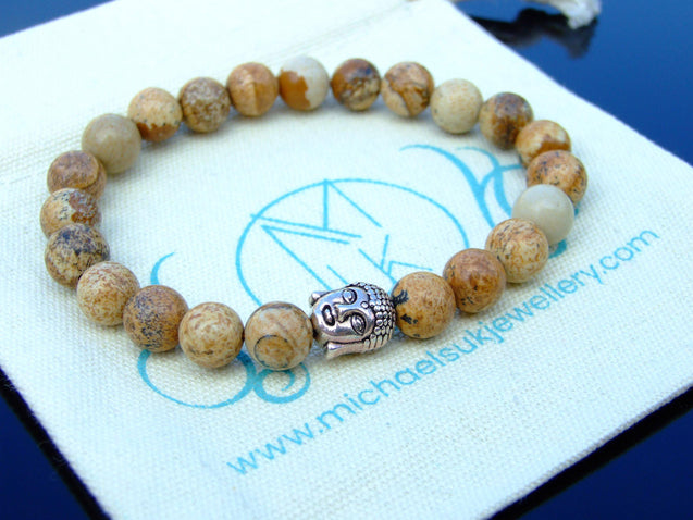 Buddha Picture Jasper Natural Gemstone Bracelet 6-9'' Elasticated-Gemstone Bracelets-Michael's UK Jewellery