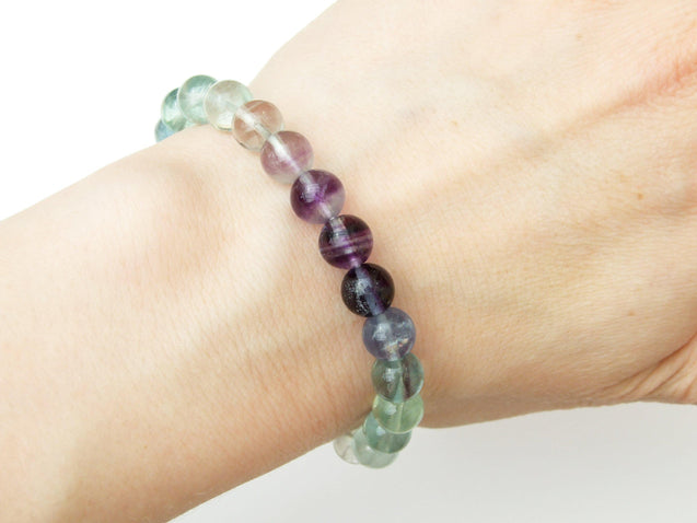 A Grade Multi Fluorite Natural Gemstone Bracelet 6-9'' Elasticated-Gemstone Bracelets-Michael's UK Jewellery
