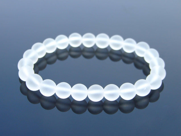 Frosted Rock Crystal Natural Gemstone Bracelet 6-9'' Elasticated-Gemstone Bracelets-Michael's UK Jewellery