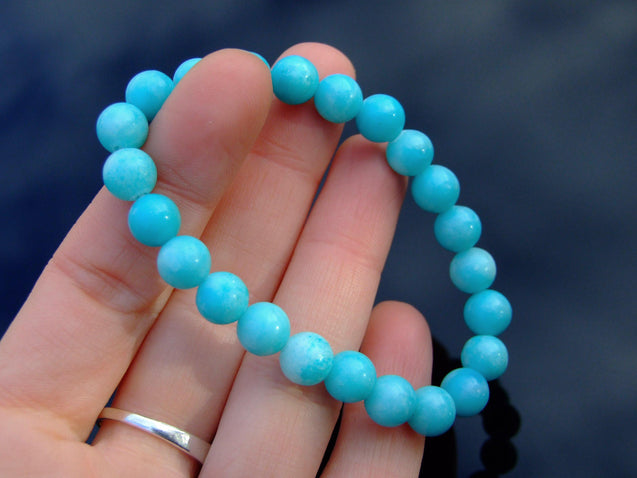 Hemimorphite Natural Gemstone Bracelet 6-9'' Elasticated-Gemstone Bracelets-Michael's UK Jewellery