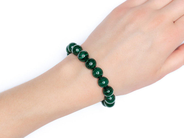Genuine Malachite 10mm Natural Gemstone Bracelet 6-9'' Elasticated-Gemstone Bracelets-Michael's UK Jewellery