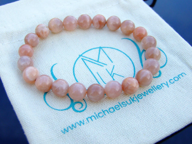 Sunstone Natural Gemstone Bracelet 6-9'' Elasticated-Gemstone Bracelets-Michael's UK Jewellery