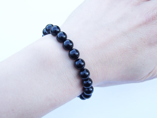 Black Onyx Natural Gemstone Bracelet 6-9'' Elasticated-Gemstone Bracelets-Michael's UK Jewellery