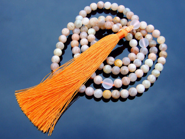 Sunstone/Crystal Natural Gemstone Mala Prayer Necklace-Gemstone Necklace-Michael's UK Jewellery