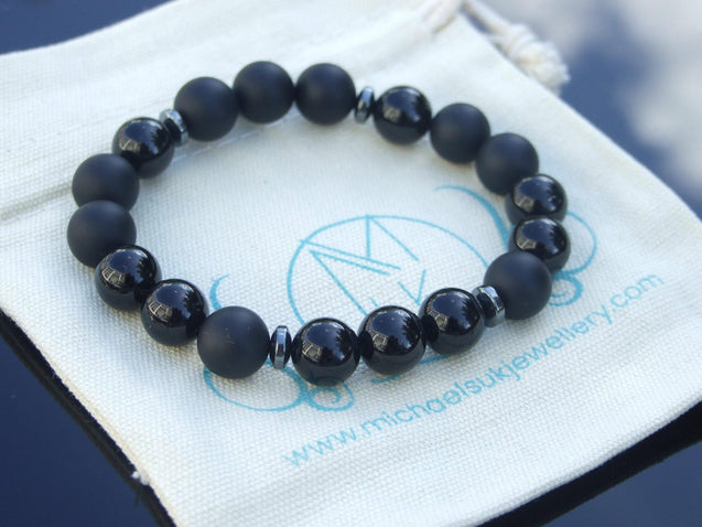 Tourmaline/Onyx Natural Gemstone Bracelet 7-7.5'' Elasticated-Gemstone Bracelets-Michael's UK Jewellery