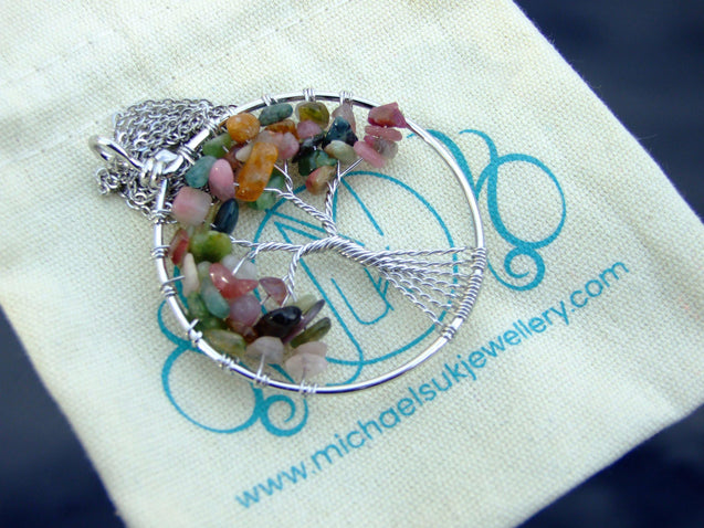 Handmade Tourmaline Tree of Life Natural Gemstone Pendant Necklace 50cm-Pendant Necklace-Michael's UK Jewellery