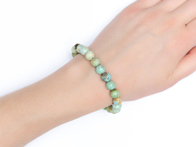 Hubei Turquoise Natural Gemstone Bracelet 6-9'' Elasticated-Gemstone Bracelets-Michael's UK Jewellery