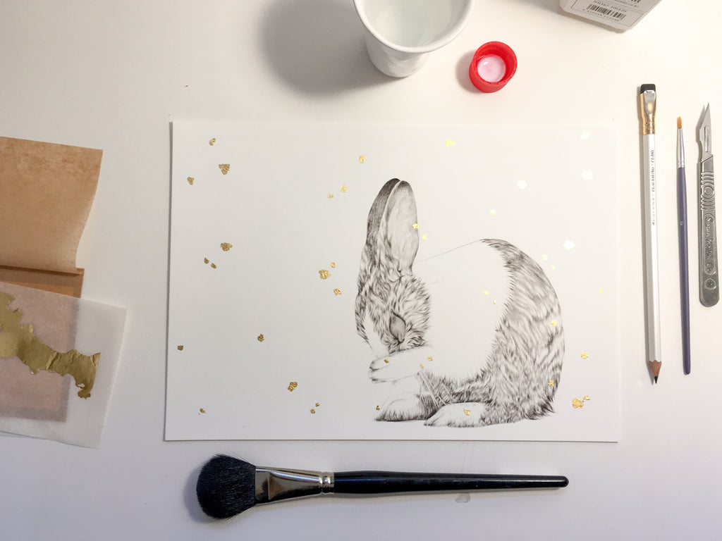 Making hand embellished gold leaf prints