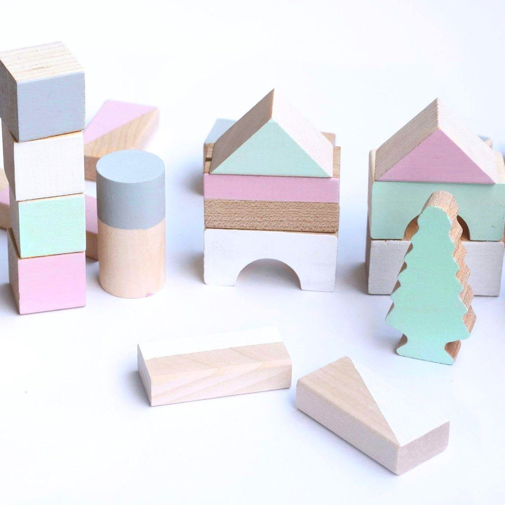 Wooden Building Blocks - Spring Colours - 24 pieces