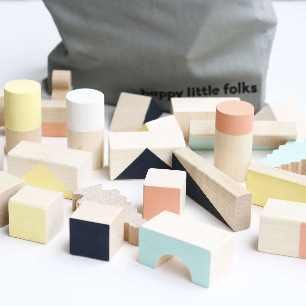 Wooden Building Blocks - Mixed Colours - 24 pieces
