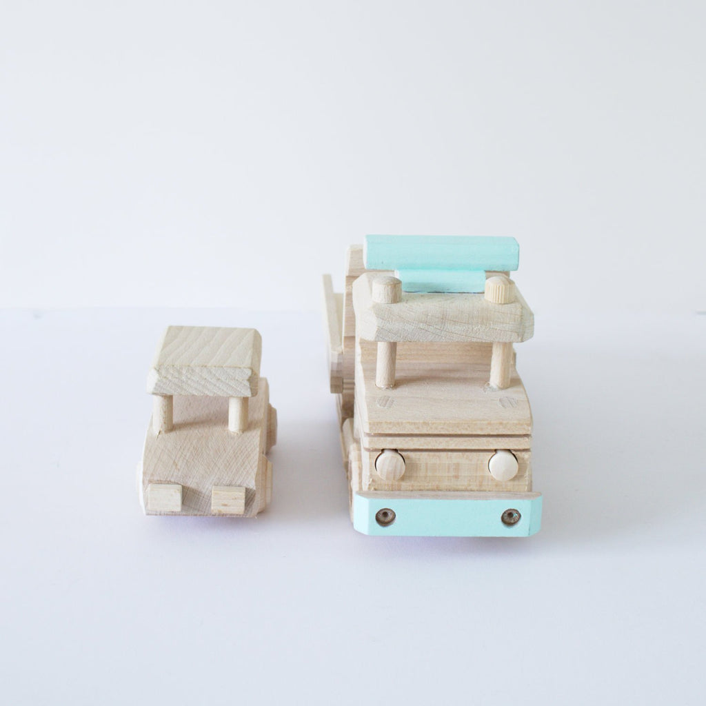 Wooden car transporter toy
