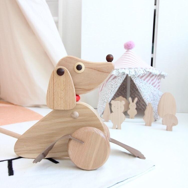 Oscar - Wooden Push Along Dog Toy