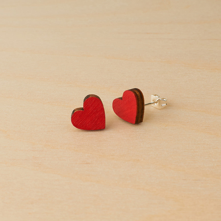 Red hearts studs - Oolaladesign