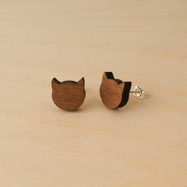 Walnut cats studs - Oolaladesign
