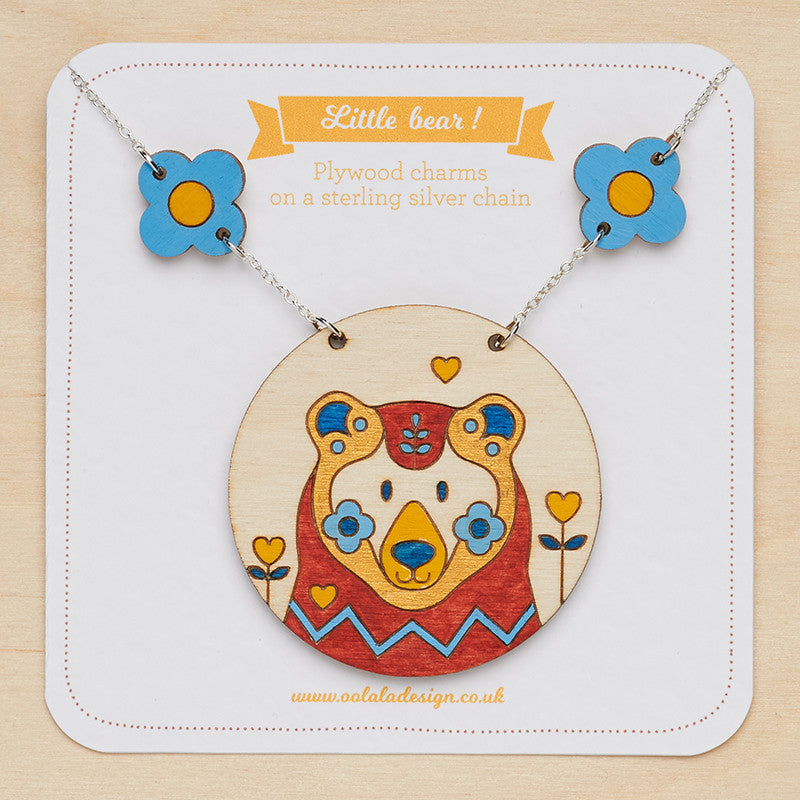 Little bear & daisy necklace - Oolaladesign