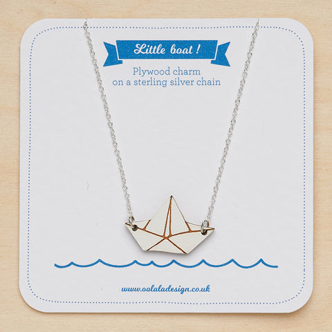 Little paper boat necklace