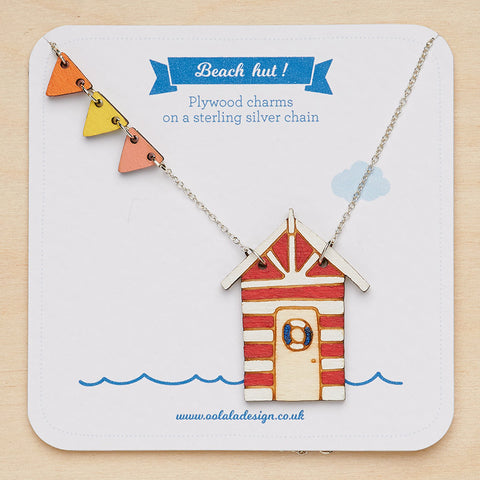 Beach hut Necklace with life buoy - Red