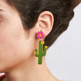 Flower and cactus - Dangle earrings
