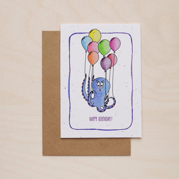 Happy birthday octopus - Seeded card - Oolaladesign
