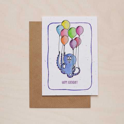 Happy birthday octopus - Seeded card