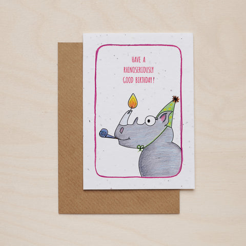 Rhinoseriously good birthday - Seeded card