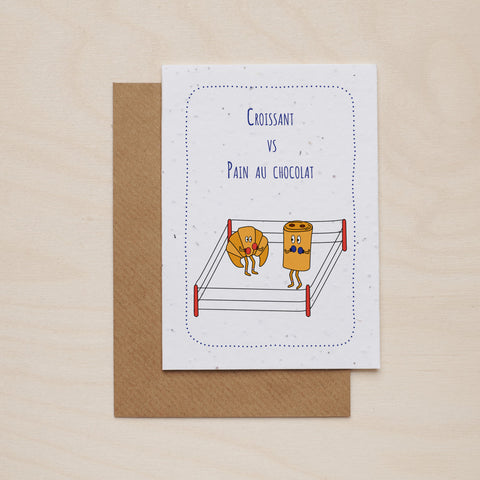 Croissant vs pain au chocolat - Seeded card