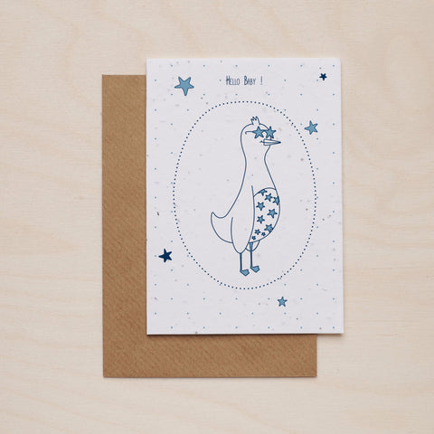Hey baby in blue - Seeded card