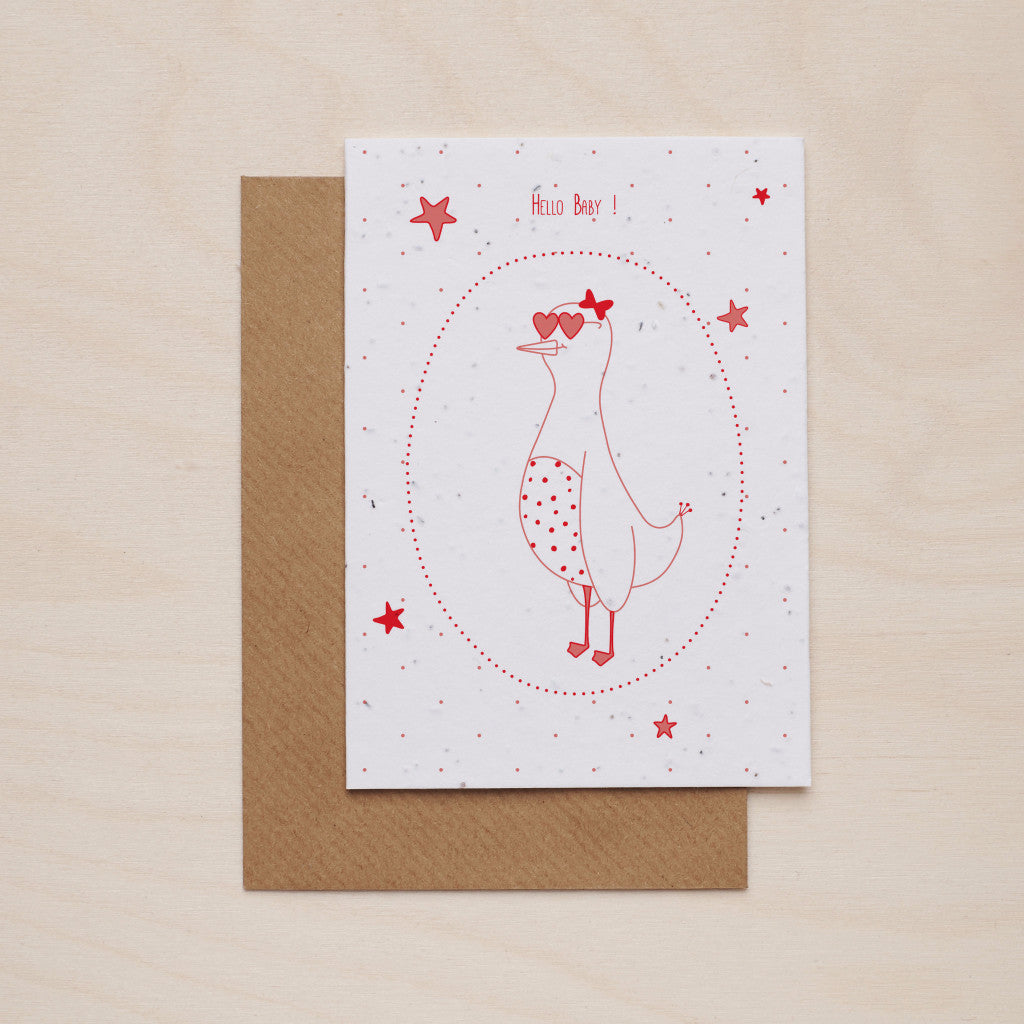 Hey baby in pink - Seeded card - Oolaladesign