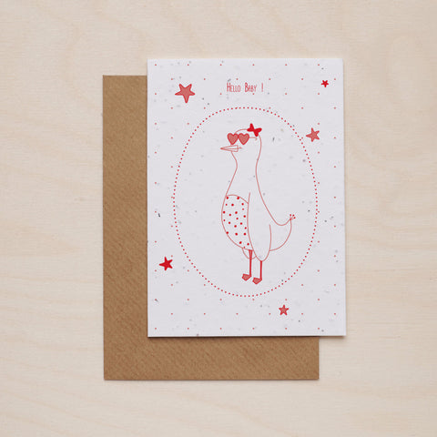 Hey baby in pink - Seeded card