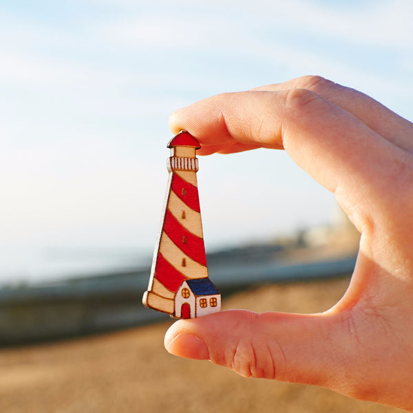 Red lighthouse brooch - Oolaladesign