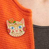 Sugar skull cat brooch - Oolaladesign