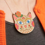 Cat sugar skull necklace - Oolaladesign